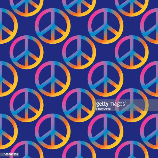 colorful peace signs seamless pattern - 1969 stock illustrations