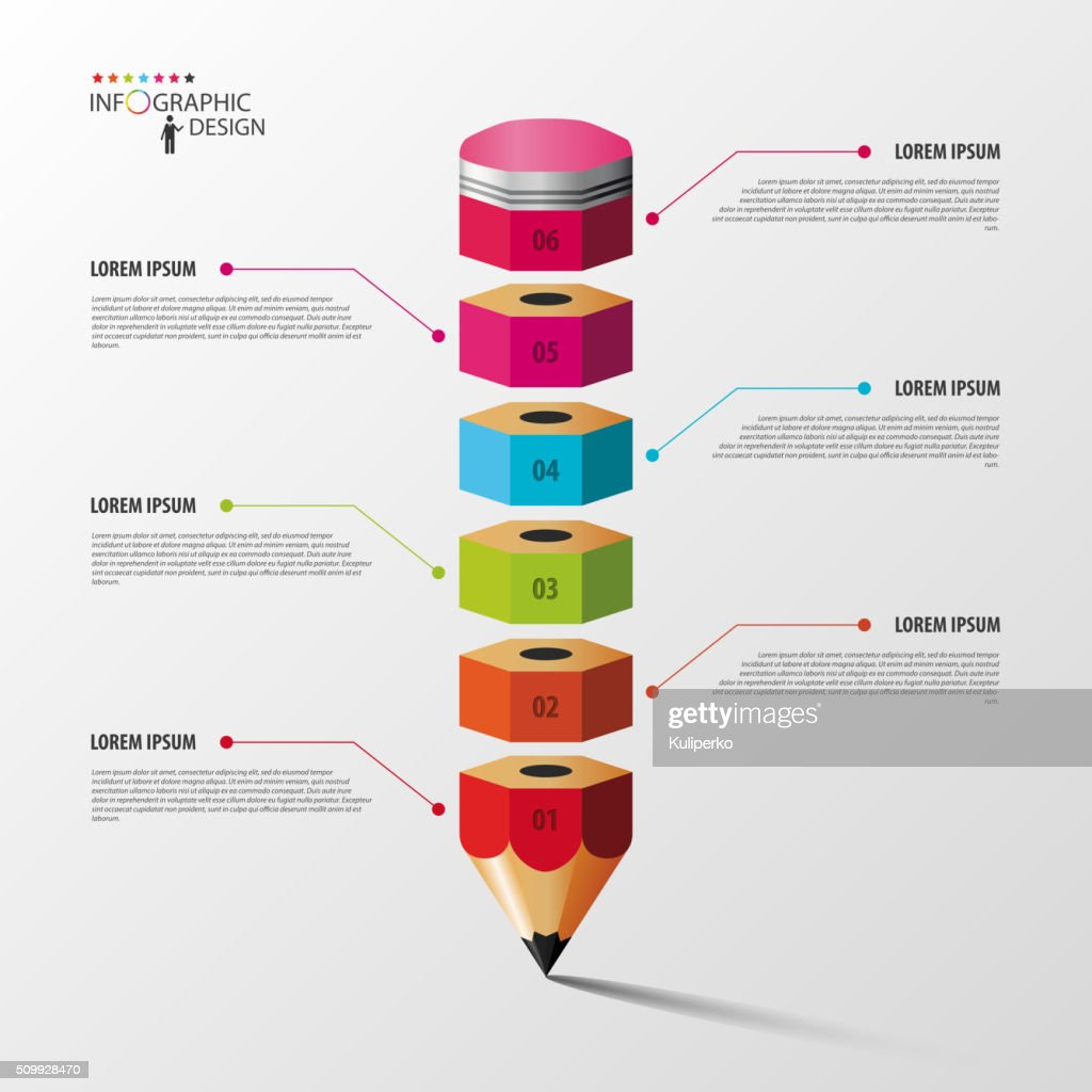Colorful pencil Infographics step option. Vector illustration
