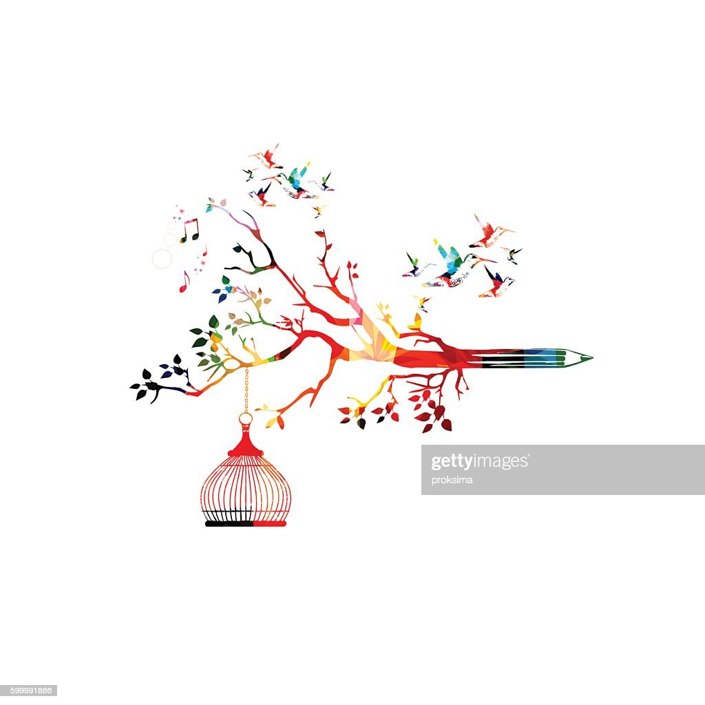 Colorful pencil tree vector illustration with hummingbirds
