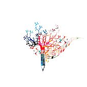 Colorful pencil tree vector illustration with music notes