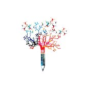 Colorful pencil with treetop