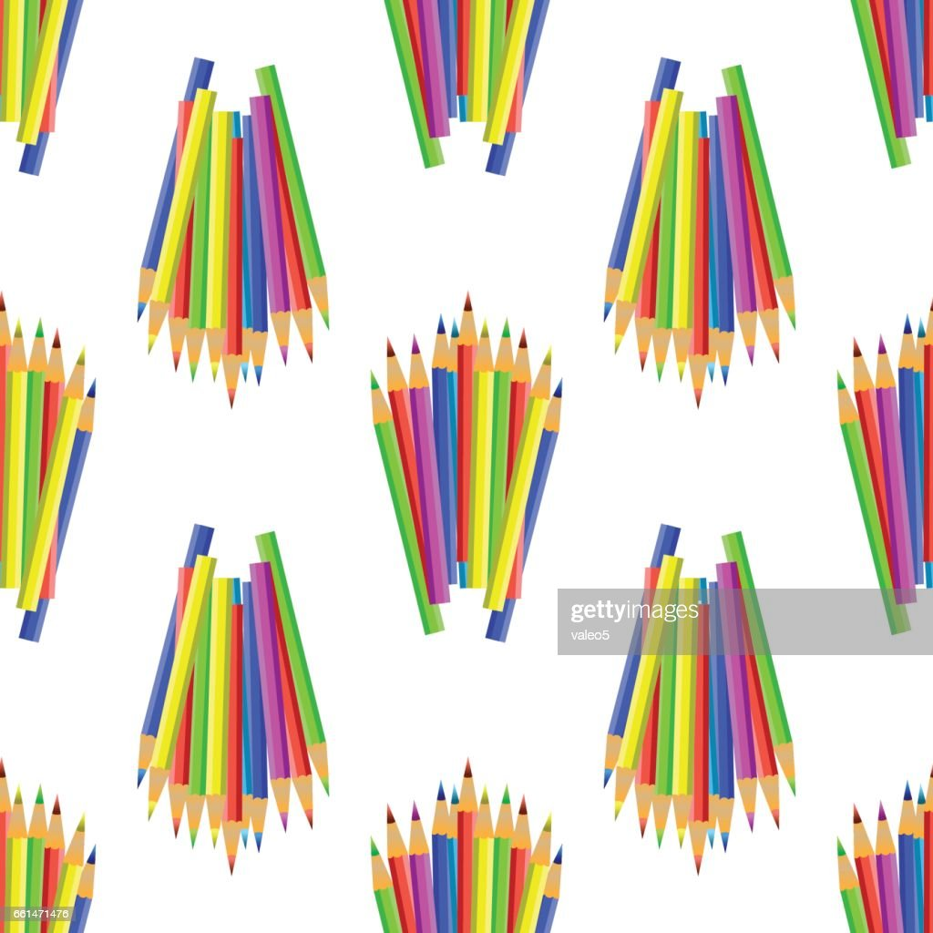 Colorful Pencils Seamles Pattern