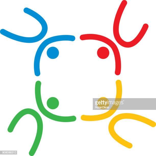 Kleurrijke mensen vervormen cirkel pictogram