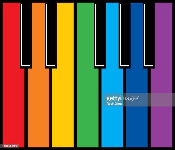 ilustraciones, imágenes clip art, dibujos animados e iconos de stock de teclas del piano colorido icono - tecla de piano