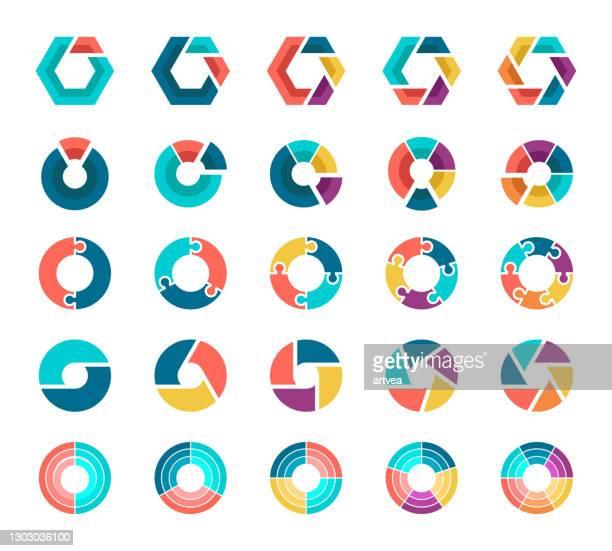 stockillustraties, clipart, cartoons en iconen met kleurrijke cirkeldiagramcollectie met 2,3,4,5,6 secties of stappen. - onderdeel van