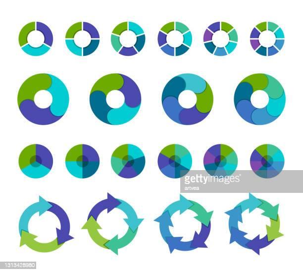illustrazioni stock, clip art, cartoni animati e icone di tendenza di raccolta di grafici a torta colorati con 3,4,5,6 e 7,8 sezioni o passaggi - numero 3