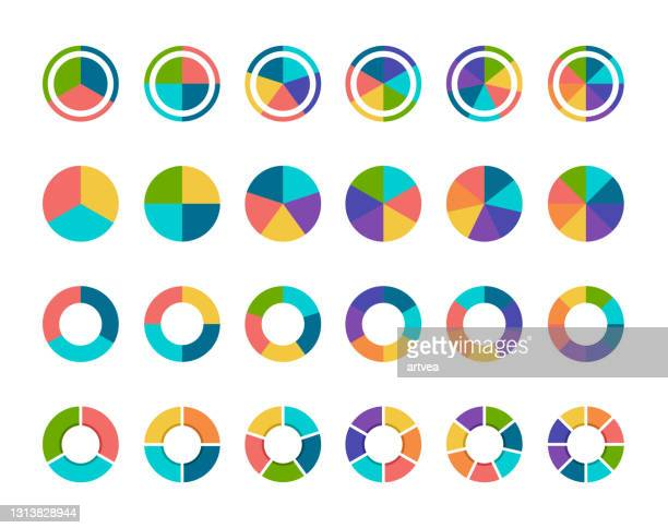 colorful pie chart collection with 3,4,5,6 and 7,8 sections or steps - number 8 stock illustrations