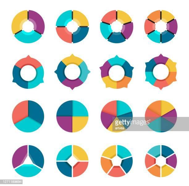 illustrazioni stock, clip art, cartoni animati e icone di tendenza di colorful pie chart collection with 3,4,5,6 sections or steps. - numero 4
