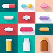 Colorful pills and bottles icons set. Flat style