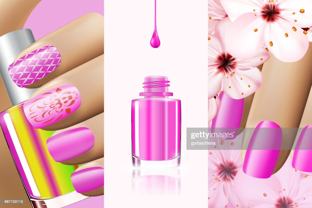 Colorful pink collection of nail designs for summer and spring. Vector 3d illustration. Nailpolish lacquer ads, nail polish splatter on white background. Manicure vogue ads for design
