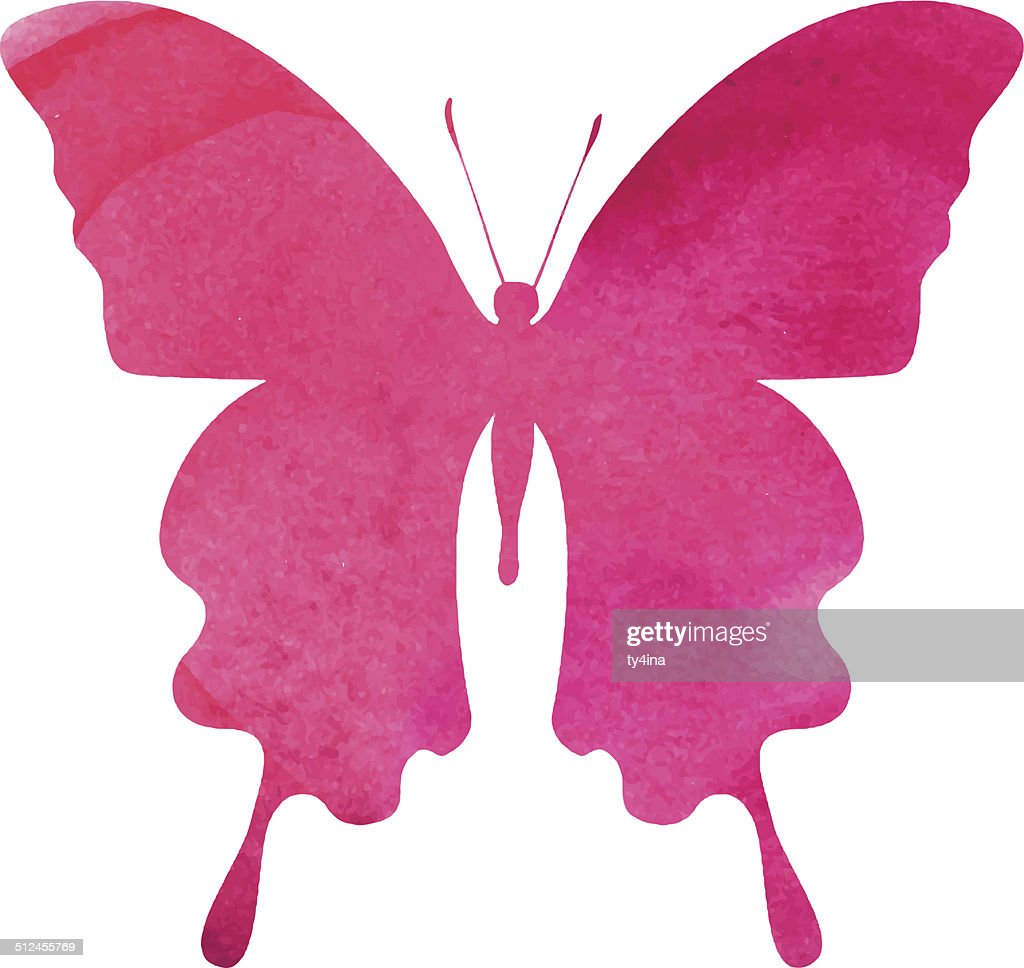 colorful pink-red watercolor butterfly