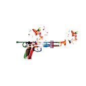 Colorful pistol with trumpet isolated