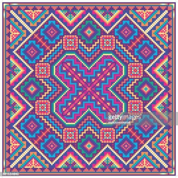 colorful pixelated tribal pattern