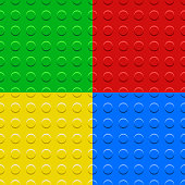 Colorful lego blocks plates seamless patterns set, vector