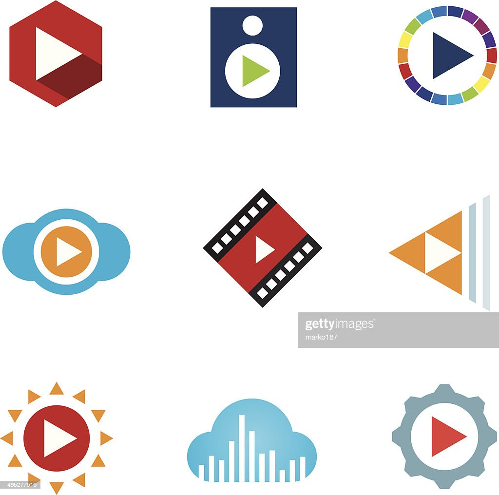 Colorful play button icons