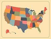 Colorful political USA map