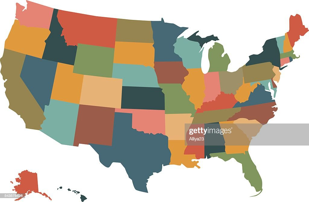 Colorful political USA map