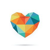 Colorful polygon heart.