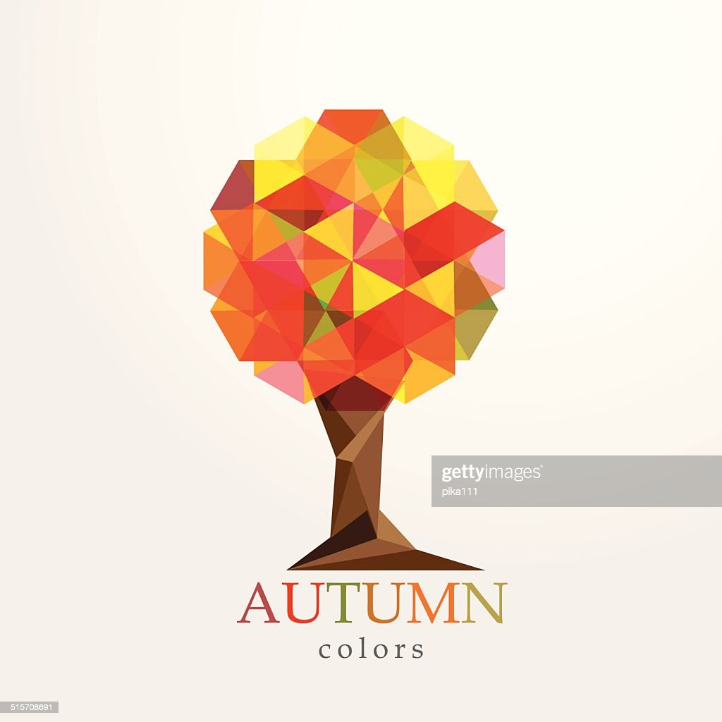 colorful polygonal autumn tree design element