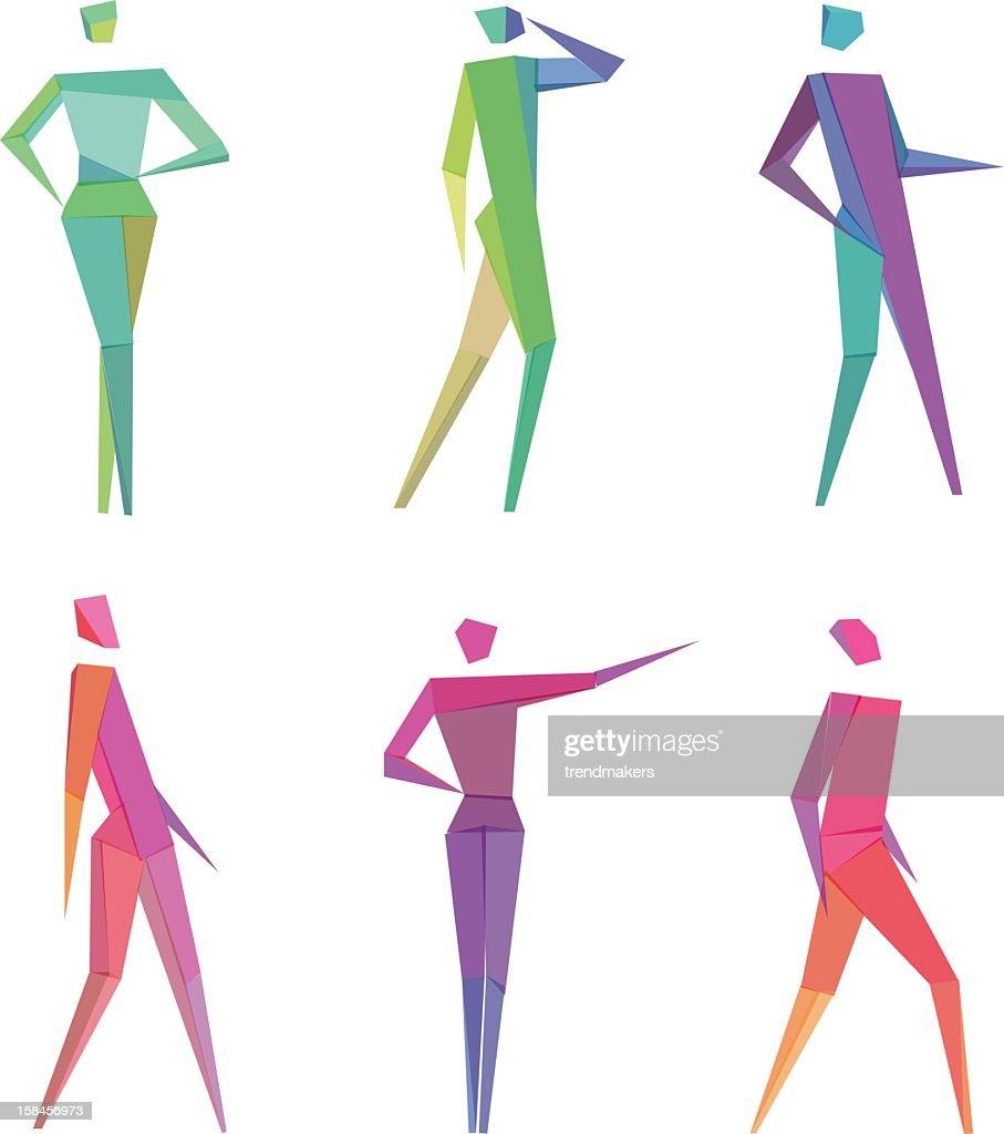 Colorful polygonal human figures