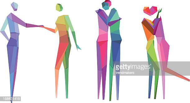 colorful polygonal people sketches - sex and reproduction stock illustrations, clip art, cartoons, & icons