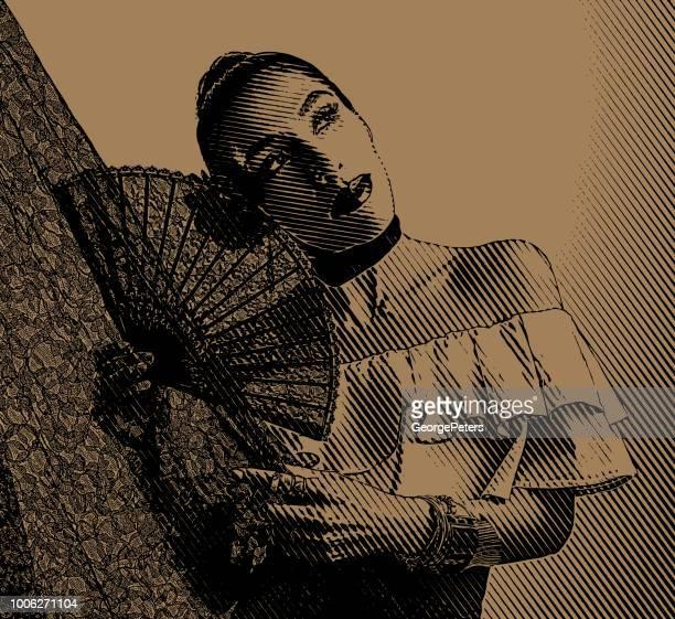 colorful portrait of a hispanic woman latin dancing - spanish dancer stock illustrations, clip art, cartoons, & icons
