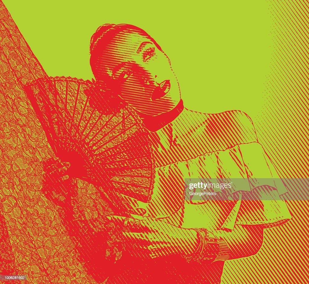 Colorful portrait of a Hispanic Woman Latin Dancing