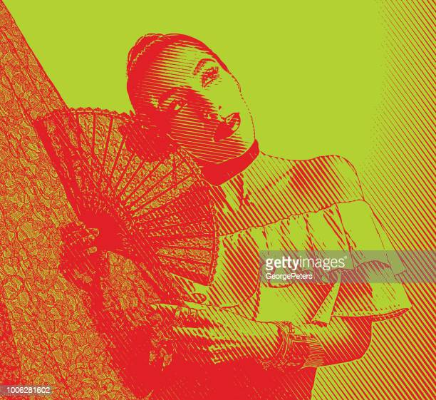Colorful portrait of a Hispanic Woman Latin Dancing