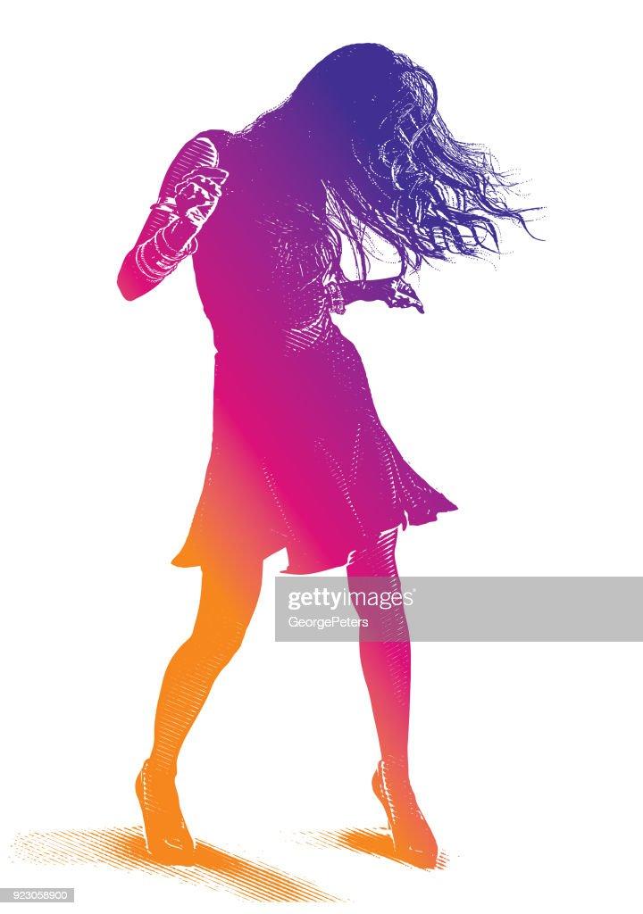 Colorful portrait of a Hispanic Woman Latin Dancing : stock illustration