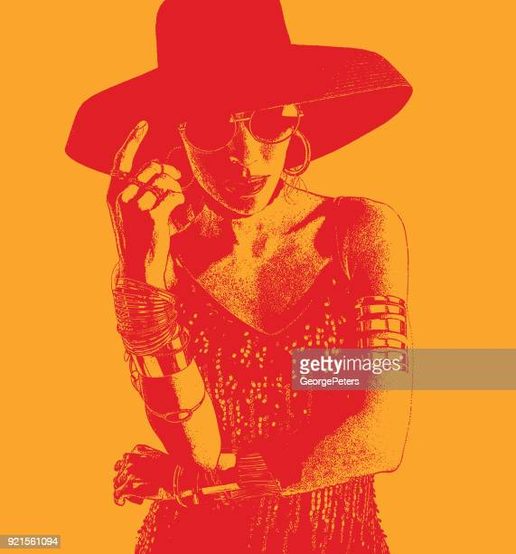 Colorful portrait of a Hispanic Woman Salsa Dancer