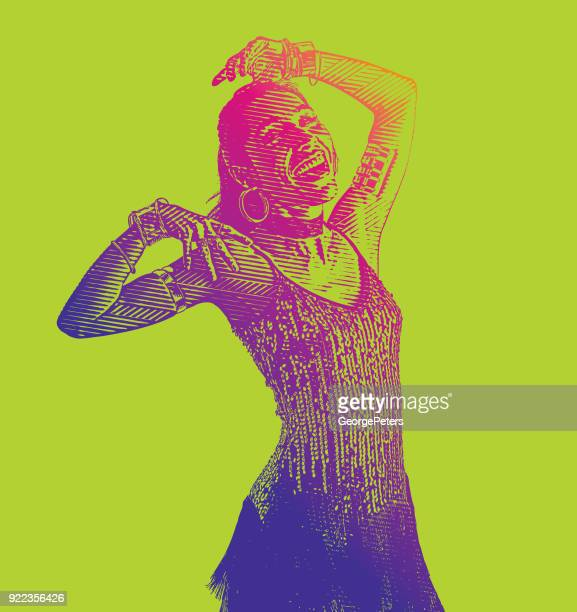 colorful portrait of a hispanic woman salsa dancing - samba stock illustrations