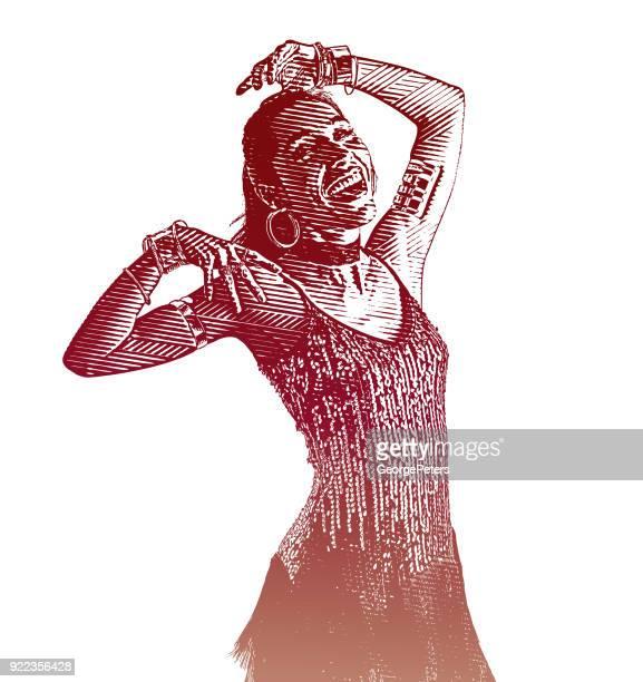colorful portrait of a hispanic woman salsa dancing - salsa music stock illustrations, clip art, cartoons, & icons