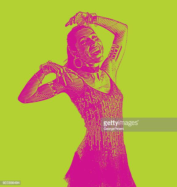 colorful portrait of a hispanic woman salsa dancing - salsa dancing stock illustrations, clip art, cartoons, & icons