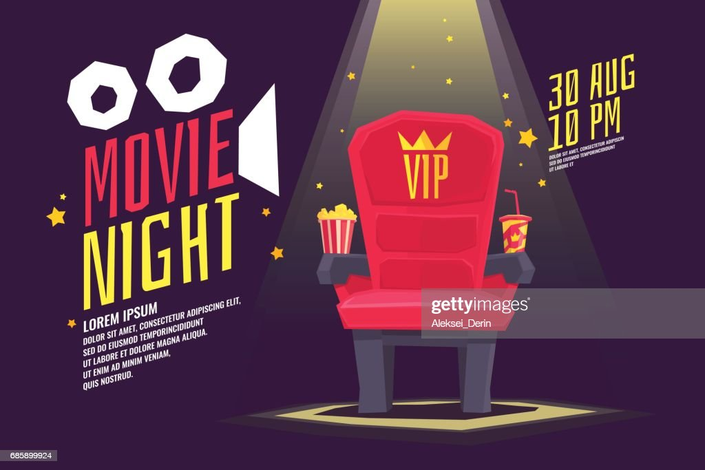 Colorful poster movie night with a projector, reels, seat and ticket