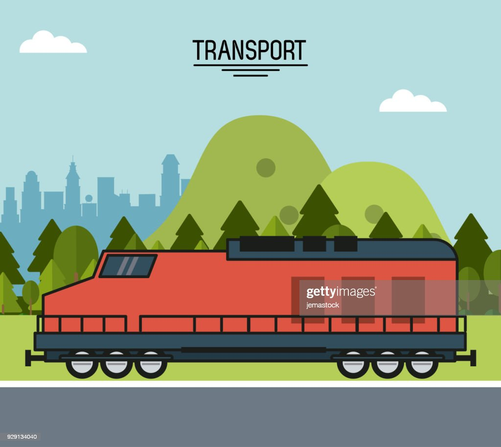 colorful poster of transport with train on the outskirts of the city
