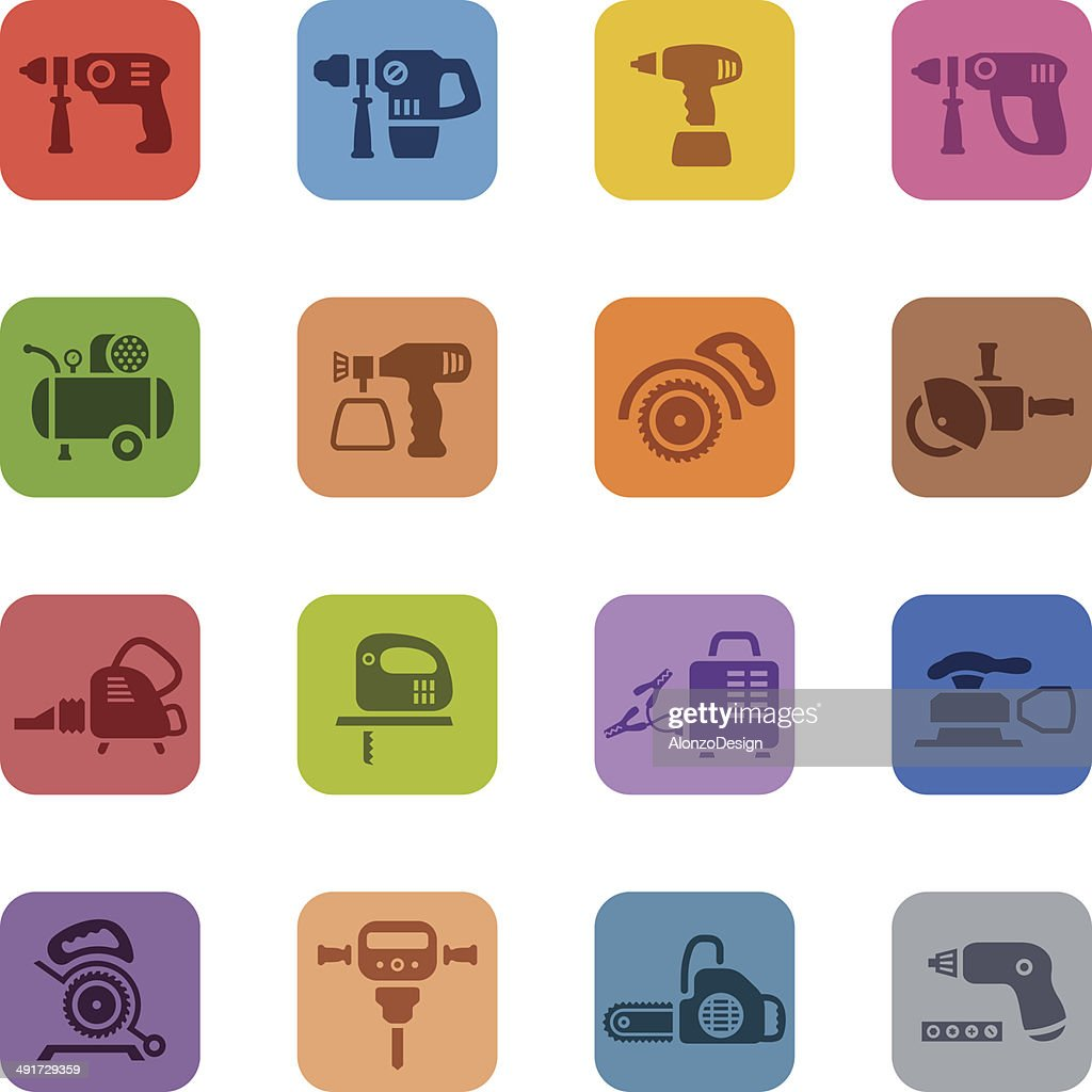 Colorful Power Tools Icon Set : stock illustration