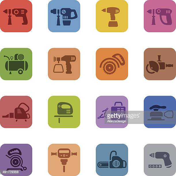 colorful power tools icon set - leaf blower stock illustrations, clip art, cartoons, & icons