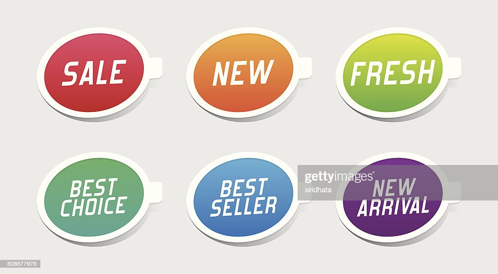 Colorful Promotional Labels : Vectorkunst