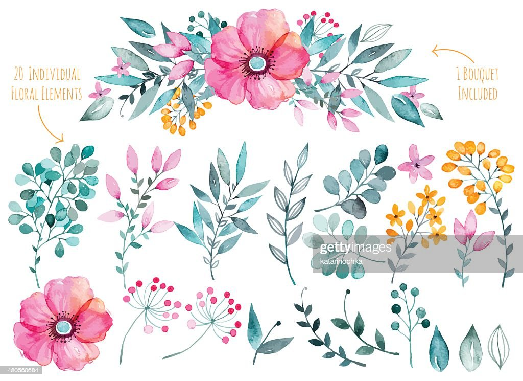 Colorful purple floral collection with leaves and flowers,drawing watercolor.