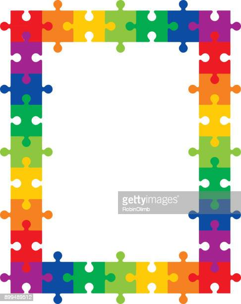 colorful puzzle frame - jigsaw piece stock illustrations, clip art, cartoons, & icons