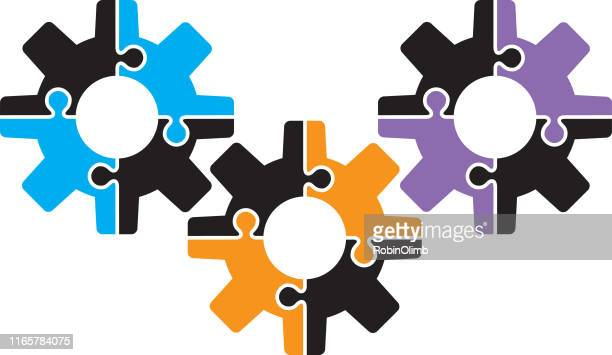 colorful puzzle gears icon - jigsaw piece stock illustrations