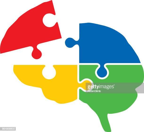 illustrations, cliparts, dessins animés et icônes de cerveau de morceaux de puzzle coloré - casse tete