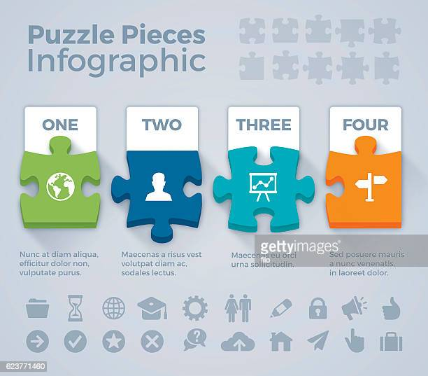 colorful puzzle pieces infographic - four objects stock illustrations