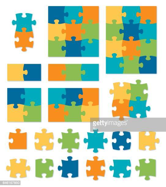 colorful puzzle - vertical stock illustrations