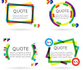 Colorful quote template information text blog business mobile isolated on
