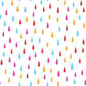 Colorful rain drops. Seamless pattern with raindrops.