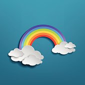 Colorful rainbow arch with clouds