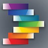 Colorful rainbow shiny paper stripes banners arrow on dark grey