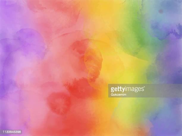 illustrazioni stock, clip art, cartoni animati e icone di tendenza di colorful rainbow watercolor background. - viola colore