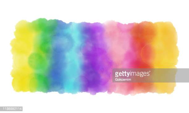 colorful rainbow watercolor background. - rainbow stock illustrations, clip art, cartoons, & icons